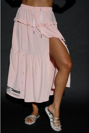 חצאית מקסי ורודה  שסע STORY