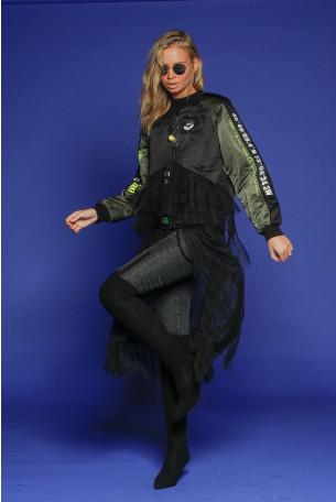 ג'קט שחור וירוק בשילוב טול גזרת חצאית  LOS ANGELES