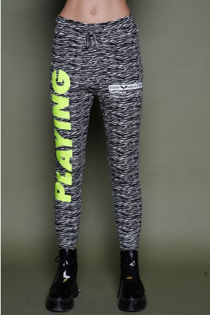 מכנסי ג'וגר דוגמת טיגריס שחור לבן  PLAYING