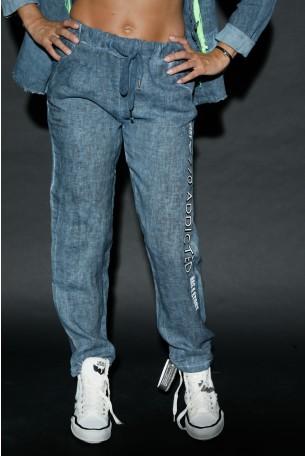 מכנסי פשתן בגוון כחול ג'ינס ADDICTED