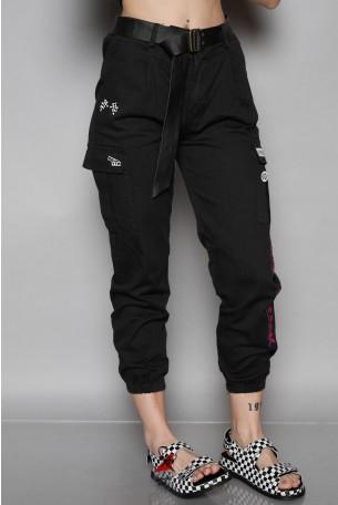 """מכנסיים מעוצבים בגזרת דגמ""""ח בצבע שחור'   BACK"""