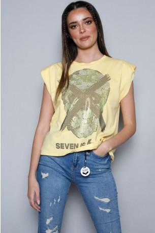חולצה צהובה ללא שרוול כריות כתפיים SKULL