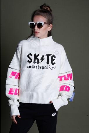 חולצת סריג בגוון לבן שמנת רוכסנים SKATE