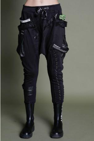 מכנסי ג'וגר שקי שחורים טבעות ATTITUDE