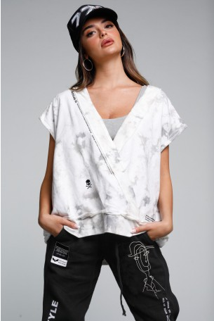 חולצת עליונית ללא שרוול טאי דאי אפור לבן HI