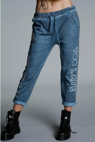 מכנסים בגוון כחול ג'ינס ניטים TOO LATE