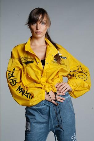 חולצת ג'קט בגוון צהוב חרדל שרוול ארוך  URBAN