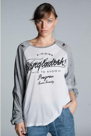 חולצה אמריקאית בגווני אפור ולבן  PROGRESS