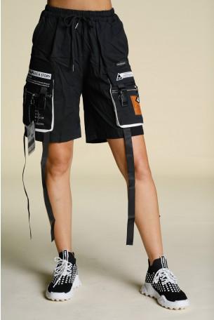 """מכנסי דגמ""""ח קצרים שחורים רצועות STORY"""