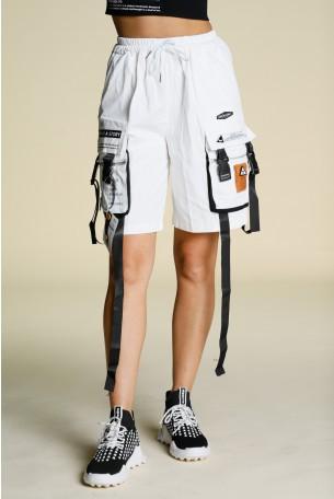 """מכנסי דגמ""""ח קצרים לבנים רצועות STORY"""