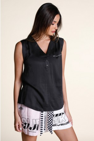 חולצה שחורה ללא שרוול מכופתרת  SEVEN