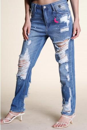מכנסי ג'ינס קרעים  WARNING