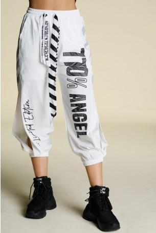 מכנסי ג'וגר לבנים ניילון פתחים ANGEL