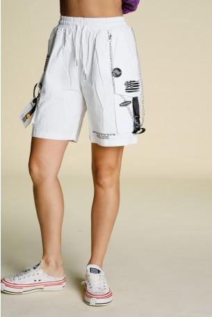 """מכנסי דגמ""""ח קצרים לבנים שרשרת HAND MADE"""