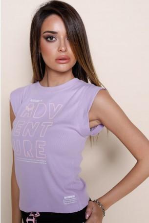 חולצת T סגולה ללא שרוול  ADVENTURE