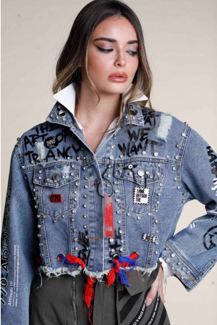 ג'קט ג'ינס קרעים בשילוב ניטים WE WANT