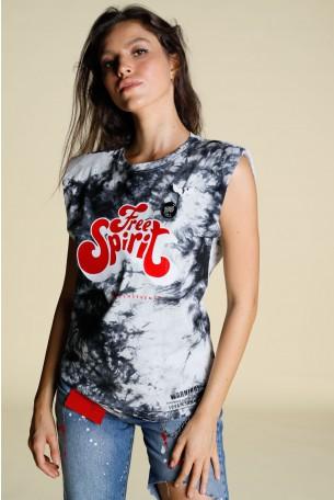חולצת טאי דאי בגוונים אפורים  FREE SPIRIT