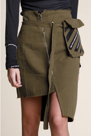חצאית אסימטרית בגוון זית SKIRT