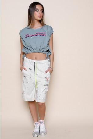 חולצת בטן כיווצים בירוק זית PLEASE