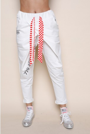 מכנסי ג'וגר לבנים בגזרת מעטפה  ADDICTED