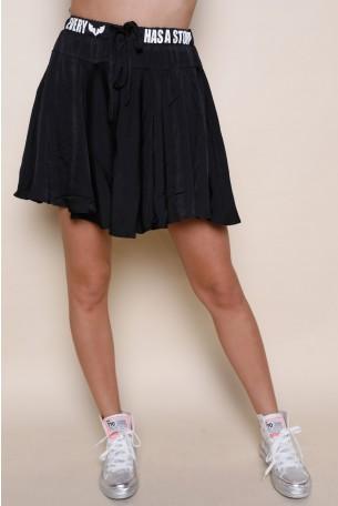 חצאית מכנס מיני פליסה שחורה EVERY