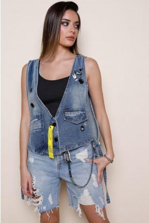 וסט ג'ינס בעיצוב מיוחד  HAND MADE