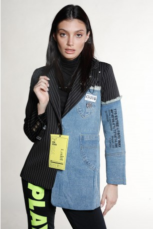 ג'קט בלייזר מחוייט שילוב בד שחור פסים וג'ינס  SIMPLE