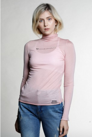 חולצת בייסיק ארוכה ורודה בשקיפות קלה WARNING