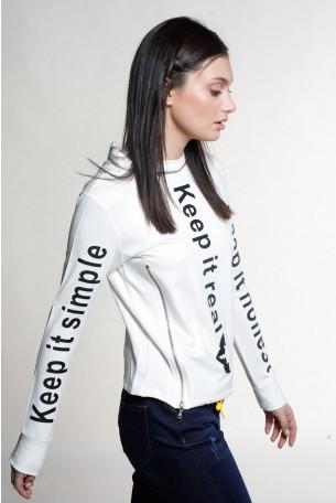 חולצת רוכסנים לבנה שרוול ארוך REAL