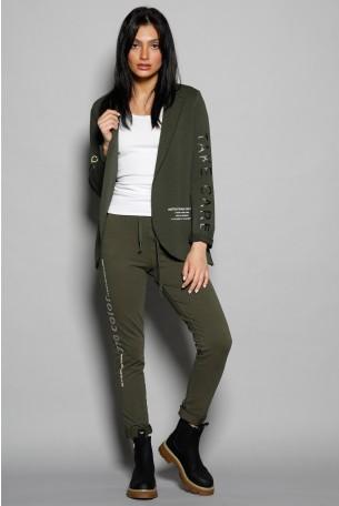 סט מעוצב ג'קט בלייזר ומכנסיים בגווני ירוק זית ADDICTED