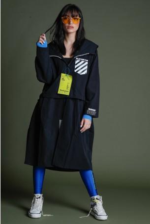 מעיל ג'קט קפוצ'ון ארוך בגוון שחור 770