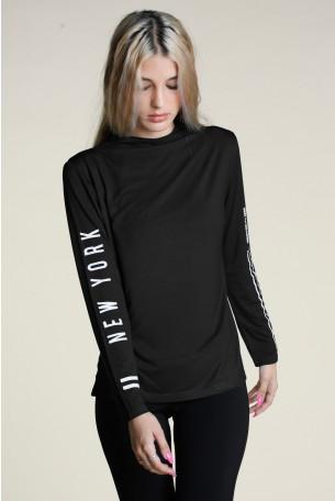 חולצת גולף ארוכה שחורה BASIC