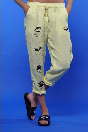 מכנסי פשתן צהובים MAXIMUM