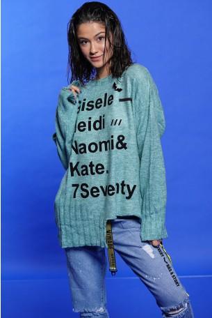 חולצת סריג אסימטרית תכלת GISELE