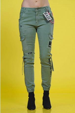 מכנסי דגמח בצבע זית MADE IN