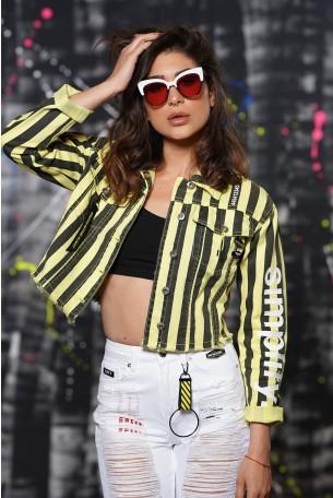 ג'קט ג'ינס פסים שחור צהוב SIMPLIFY
