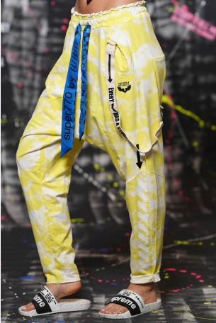 מכנסי פוטר שקי כתמים צהוב לבן STORY