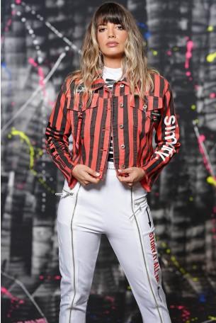 ג'קט ג'ינס פסים שחור אדום SIMPLIFY
