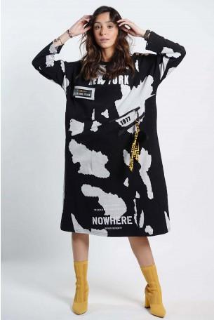 שמלת כתמים שחור לבן NY