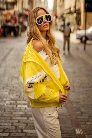 מעיל רוח צהוב מעוצב  FEEL
