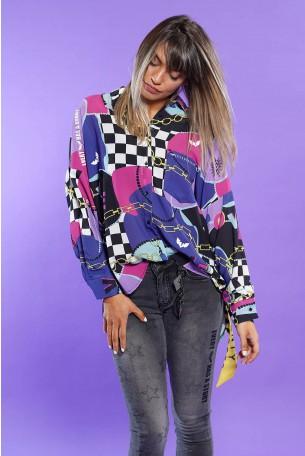 חולצת מכופתרת צבעונית שרוול ארוך בגוונים סגולים  NOT