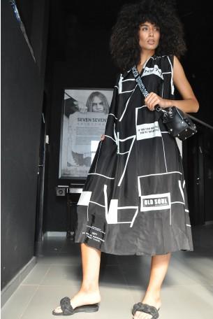 שמלה ארוכה בשחור לבן YOU 770