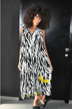 שמלה ארוכה בשחור לבן AWESOME
