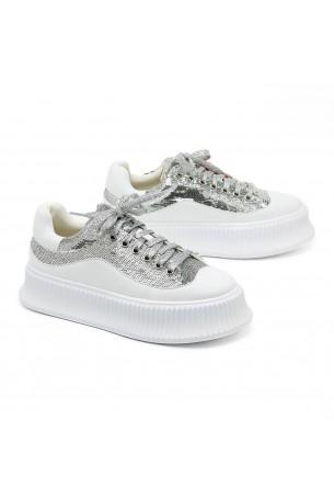 נעלי סניקרס פאייטים כסופים עקב מוגבה GLAM