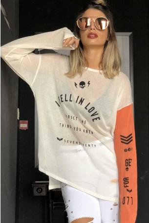 חולצת סריג לבנה שרוול ארוך  IN LOVE