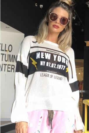 חולצת סריג לבנה שרוול ארוך  NY