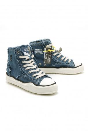 נעלי סניקרס בד ג'ינס כחול בגזרה גבוהה  WARNING
