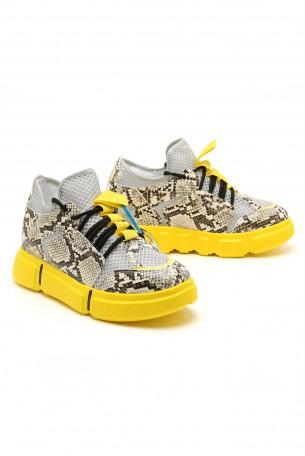 נעלי סניקרס מנוחשות בגווני צהוב ושחור פלטפורמה נסתרת LIMITED