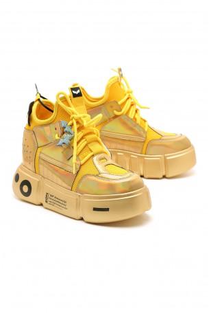 נעלי סניקרס מטאליות-מוזהבות פלטפורמה נסתרת LIMITED