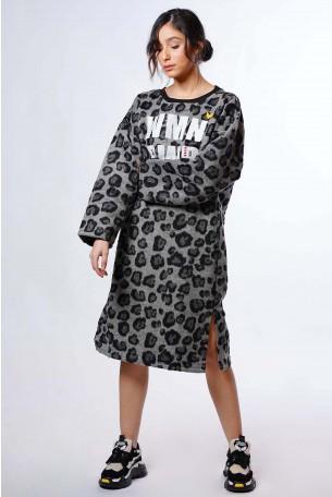 שמלת פליז מנומרת שחור אפור WMN PWR